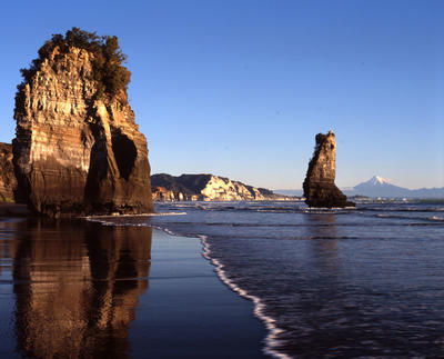 Tongaporutu Coastline - two of the Three Sisters from Gibbs' Beach, 8 July 2001