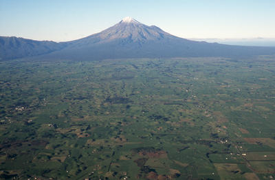 """Lahars in the Pungarehu District, looking towards Mount Taranaki"""