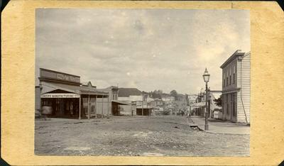 View of buildings on Devon Street, New Plymouth