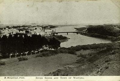 """River Scene and Town of Waitara""; PHO2008-103"