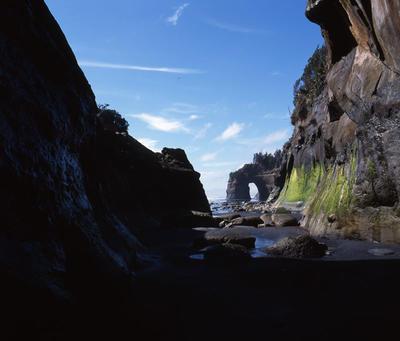 Tongaporutu Coastline - Rapanui Beach from a rock arch, 23 October 2003