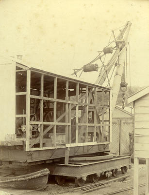 Side view of 40 ton Jumbo steam powered crane, New Plymouth