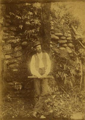 William Henry Skinner at Koru pā, Ōākura; 16 Jan 1897; PHO2008-1665