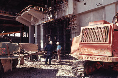 New Plymouth Power Station construction, turbine foundation