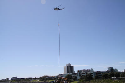 """Removal of Len Lye's """"Wind Wand"""" for maintenance"""