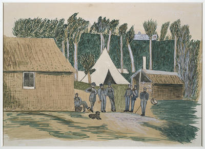 """The Entrance to the Armed Constabulary camp at Pungarehu in Taranaki"""