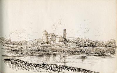 """Iron-sand works, N.P., 1881"""