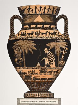 """Bilingual belly amphora, 1867.  Titokowaru ponders the embers."""