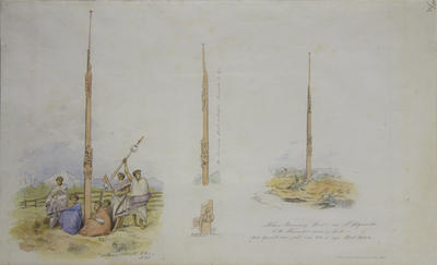 """""""Native Boundary post nr. N. Plymouth & the Waiwakio river & pah / Mt Egmont seen just over trees to left Bell Block"""""""