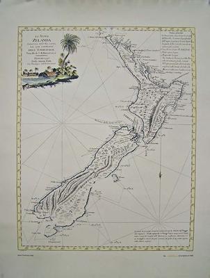 """""""La Nuova Zelanda trascorsa nel 1769. c. 1770. Dal Cook Comandante Dell 'Endeavour' Vascello di S.M. Britannica ... 1778""""  [map]"""