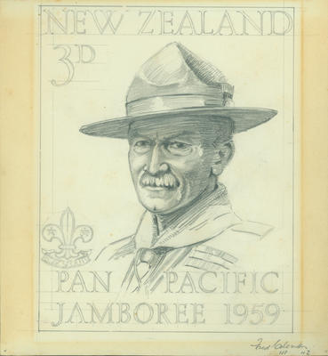 Stamp design for 1959 Pan Pacific Scout Jamboree, Fred Coleman; 1958; ARC2011-061