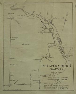 Pekapeka Block Waitara, copy of original plan; ARC2011-097