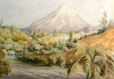 """""""Mt Egmont and Waiwakaiho Valley 1867""""; 1867; A65.903"""