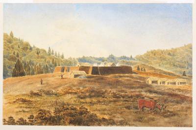 """""""Bushrangers Redoubt and Camp at Wai-iti, Pukearuhe District""""; 1871; A58.490"""