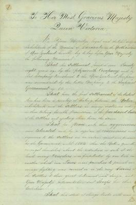 Petition to Queen Victoria from 'the inhabitants of the Province of Taranaki' regarding settlers being disadvantaged by the land wars and dissension over land issues