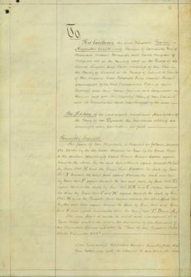 Petition to George Constantine from 'the inhabitants and householders of New Plymouth' requesting the town to be constituted to form a borough