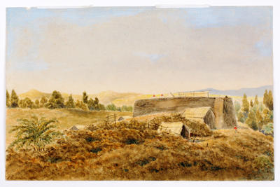 """""""A view of the Bushrangers camp at Wai-iti, looking north east""""; 1871; A74.569"""