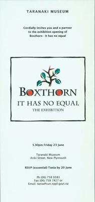 Boxthorn: It Has No Equal; exhibition research notes
