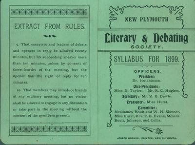 New Plymouth Literary and Debating Society