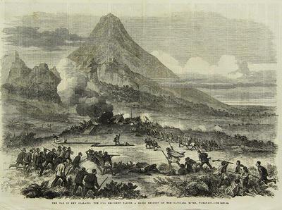 """""""The War in New Zealand. The 57th Regiment taking a Maori Redoubt on the Katikara River, Taranaki"""""""
