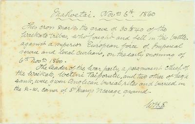 W H Skinner notes on memorial crosses at Mahoetahi, Corbett Road and the No 3 Redoubt at Huirangi; ARC2012-192