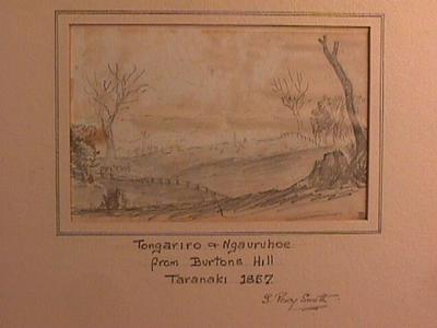 """""""Tongariro and Ngauruhoe from Burtons Hill, Taranaki, 1857"""""""
