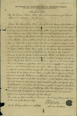 Fac-Similes of Proclamations by Governor Hobson