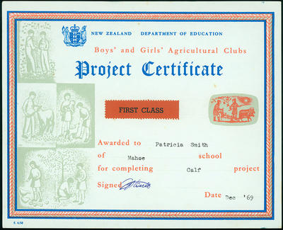 Boys' and Girls' Agricultural Clubs [certificates]