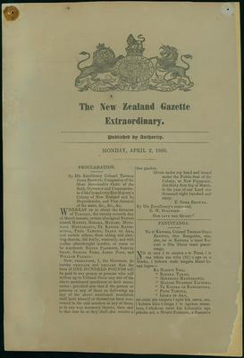 The New Zealand Gazette Extraordinary.