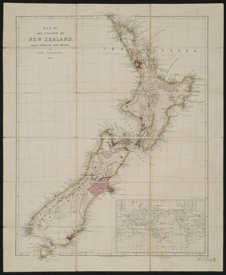 Map of the Colony of New Zealand from Official Documents by John Arrowsmith 1850