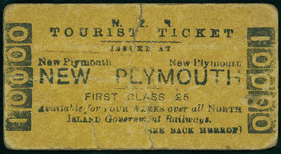 N.Z. Tourism Ticket Issued at New Plymouth