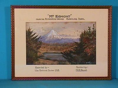 """Mt Egmont from the Recreation Ground, Pukekura Park"""