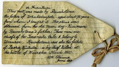 Label [Huruhuru Kuri]; Jun 1889; ARC2020-038