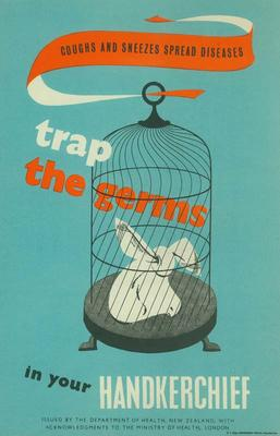 Coughs and Sneezes Spread Diseases. Trap the Germs in Your Handkerchief [poster]