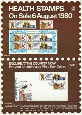 """NZ Post """"Health stamps on sale 6 August 1980"""" [poster]"""
