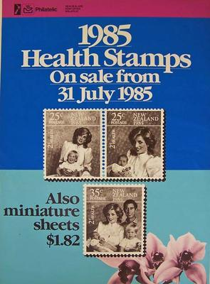 """NZ Post - """"1985 health stamps on sale from 31 July 1985"""" [poster]"""