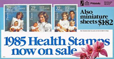 """NZ Post - """"1985 Health Stamps now on sale"""" [poster]"""