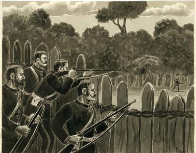 Private Hoskins tries a shot at a dignified looking Maori.