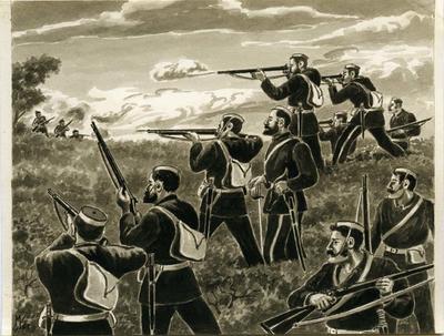 """Lieutenant Gudgeon and his men in action near Warea""."
