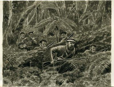 """Captain Kepa and his Wanganui Maoris going into action at Moturoa"""