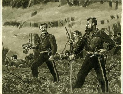 """""""Captain Roberts orders the bugler to sound the Halt and the Officers Call. A critical Moment in the fight at """" Te Ngutu-O-te-Manu"""""""