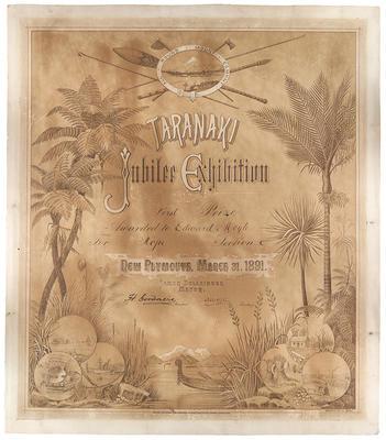 Taranaki Jubilee Exhibition certificate; 31 Mar 1891; A66.552
