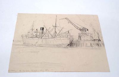 """""""S.S. Port Huon. Newton King Wharf, N.P"""""""
