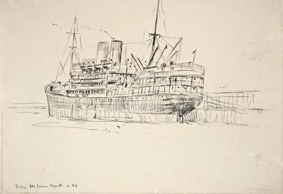 """""""Friday RMS. Remuera. Plymouth at N.P.""""; 27 Oct 1929; PA2008.097"""