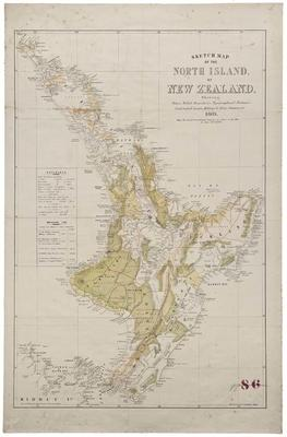 Sketch map of the North Island of New Zealand showing native tribal boundaries, topographical features, confiscated lands, military & police stations, etc.
