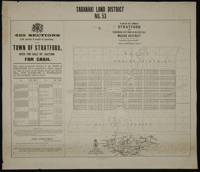 Plan of the town of Stratford and suburban sections in Blocks I & II Ngaire District [map]