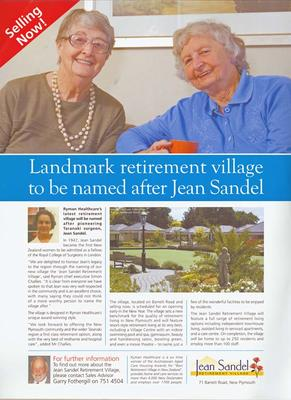 Jean Sandel Retirement Village [poster]