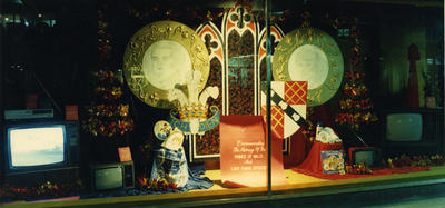 Window display commemorating the marriage of Prince Charles and Princess Diana, The Farmers Co-op, New Plymouth