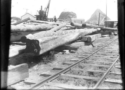 """""""Timber stockpiled on land near root of Main Breakwater. Small steam crane in the background."""""""