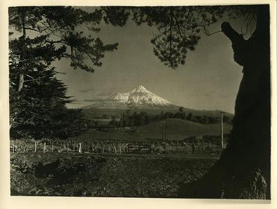 Farmland and Mount Taranaki; Circa 1925-1958; PHO2010-0477